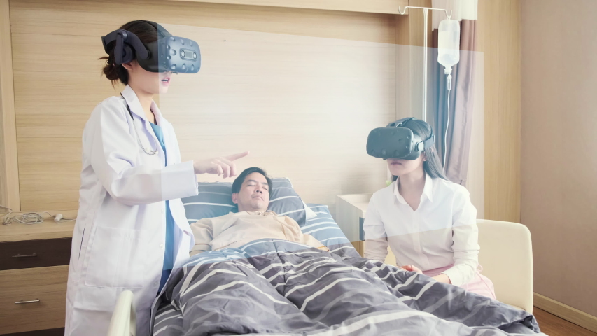 Doctors discussing in ward room with patient, AR augmented reality present technology hospital health care. Future digital technology futuristic background.nurse