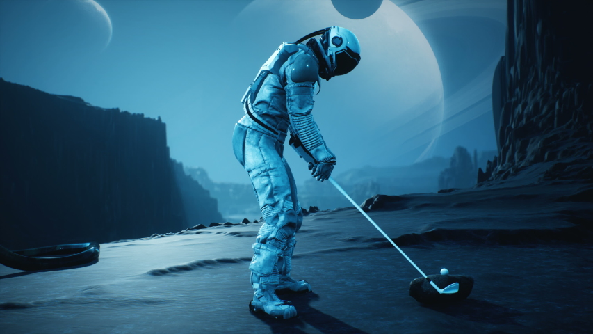An astronaut explorer is playing Golf on a beautiful alien planet. Animation for fantasy, futuristic or space travel backgrounds. | Shutterstock HD Video #1057518952