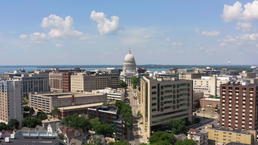 Aerial view of Madison skyline with blue sky. Capital city of Wisconsin