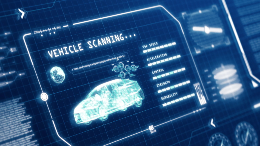 HUD driving vehicle car specification scanning user interface computer screen display with pixels background. Blue abstract hologram holographic technology concept. Sci-fi. 4K motion graphic footage Royalty-Free Stock Footage #1057523968