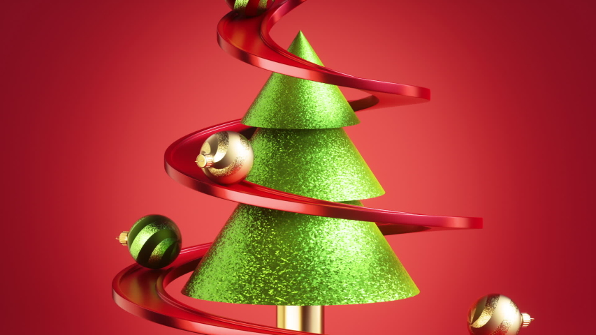 Christmas glass balls ornaments rolling down the serpentine road, isolated on red background. Fir tree metaphor. Endless animation, seamless motion design, modern animated live image. Royalty-Free Stock Footage #1057530589