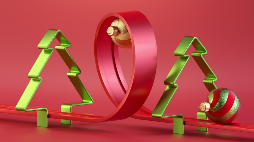 3d Christmas endless animation. Assorted glass balls roll on the looped road over red background. Oddly satisfying video. Cyclic seamless motion design. Live image
