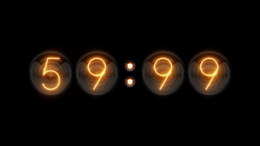 Countdown 60 seconds. Countdown 1 minute. Countdown milliseconds. Nixie tube indicator countdown. Gas discharge indicators and lamps. 3D. 3D Rendering  Royalty-Free Stock Footage #1057535842