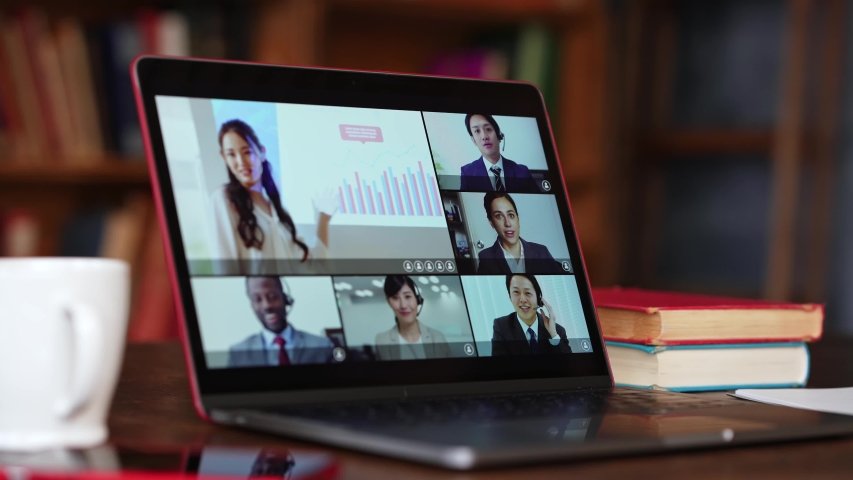 Video conference concept. Telemeeting. Videophone. Teleconference. Webinar. Royalty-Free Stock Footage #1057541272
