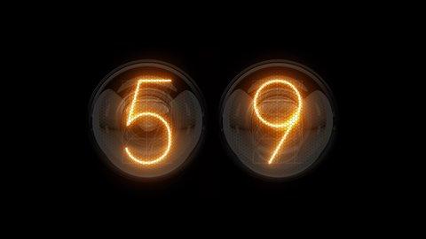 Countdown 60 seconds. Countdown 1 minute. Nixie tube indicator countdown.