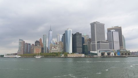 NYC Manhattan panorama from the ship in 4K Slow motion 60fps