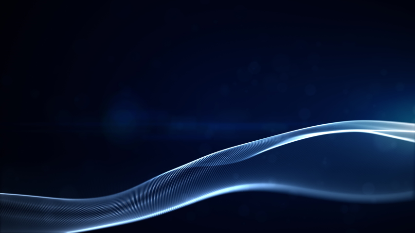 Blue textured particles and light in soft motion of seamless loop. Technology, science and engineering abstract background