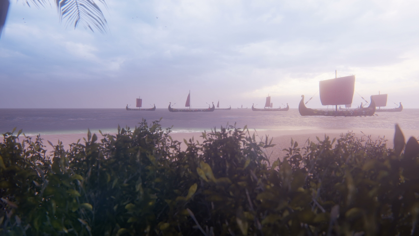 Viking warships sail past a beautiful lost tropical island. Concept on the theme of the Vikings and the early middle ages.