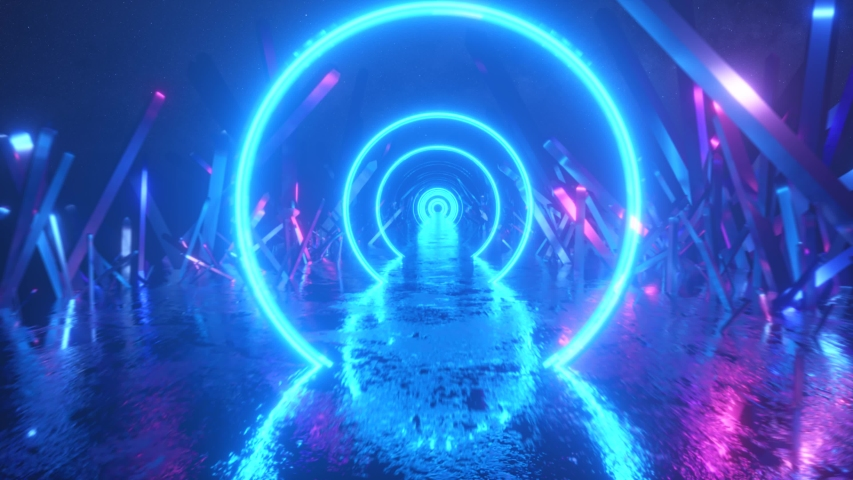 Asbractic flight, neon light ring shape, mysterious space landscape, forward flight through the corridor of crystals, virtual reality, outer space, star panorama. Seamless loop 3d render