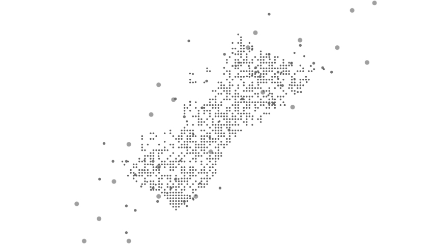 Dotted polka dot pixel particle abstract Dubai map. UAE falling map animation. 4K video.
