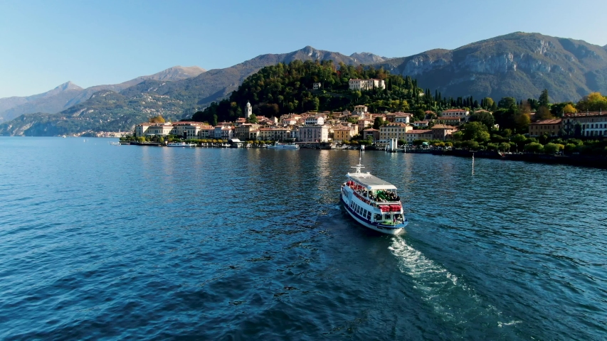 Italy - Lake Como - Passing by a boat in front of Bellagio