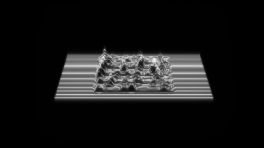 Sound Waves Floating On Black Background. Motion Graphics Loop Of Virtual Abstraction Animation, Trendy Composition