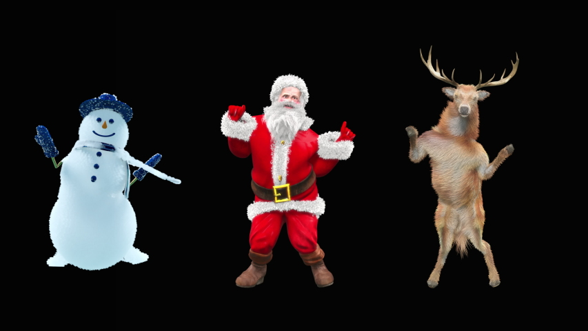 Merry christmas and happy new year, 3d rendering, Snowman, Deer,  santa claus Dancing, Animation Loop  composition 3d mapping cartoon, Included in the end of the clip with Alpha matte.