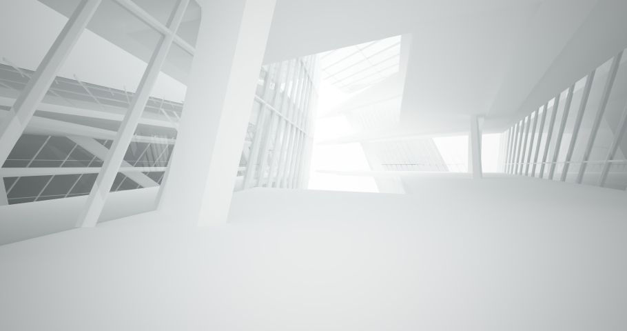 Abstract architectural background. Flying on a white minimalistic interior. Futuristic modern space. Bright neon lighting. 3D animation and rendering. | Shutterstock HD Video #1057575838