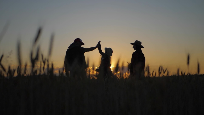 Silhouette family farmers working in a wheat field at sunset. Young parents with their daughter in a wheat field. The concept of organic farming and family business.   Shutterstock HD Video #1057580797