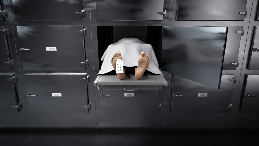 Dead body slide into mortuary refrigeraor for later autopsy, corpse on metal tray covered with white cloth, sliding into morgue freezer waiting for dissection. Front closeup view.