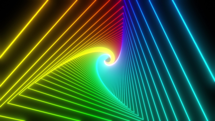 Rainbow triangle tunnel. Seamless 4K animation. Abstract motion screen background with animated loop box. Glowing neon frames with bright colors on a black background. 3D rendering #1057589152