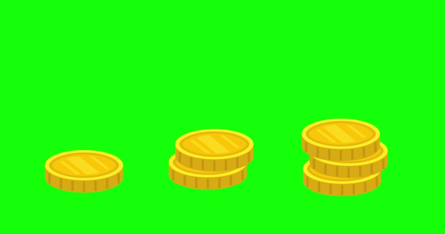 4K Looped animation, stack of Golden coins falling on top of each other. Gold, Money falling Down, Green screen background. 2D Seamless motion animated footage, business concept, financial infographic