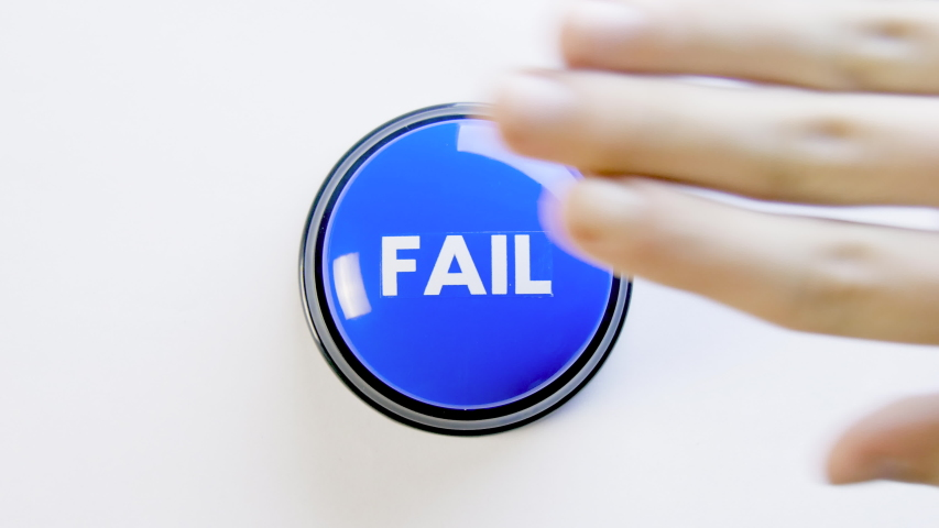Pushing, hitting a big blue glossy fail button on white background. Woman pressing the fail meme button with finger, hand and fist. Concept of failing, bad luck, losing the game. Something went wrong. | Shutterstock HD Video #1057615756