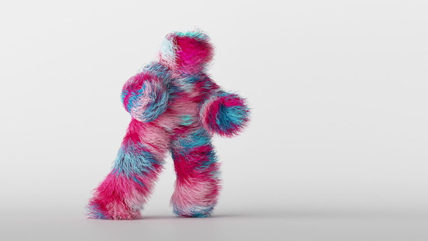 3d colorful hairy cartoon character funny hip hop dancing, furry beast having fun, fluffy mascot looping animation, modern minimal seamless motion design