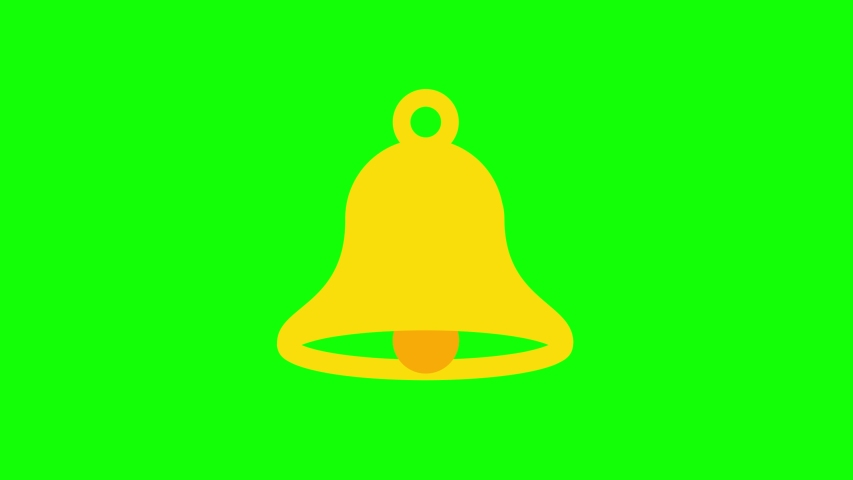 Animated yellow ringing bell icon. Animation, pictogram, motion graphics. Useful for social media, interfaces, infographics, websites. Chroma key, green screen background. | Shutterstock HD Video #1057619662