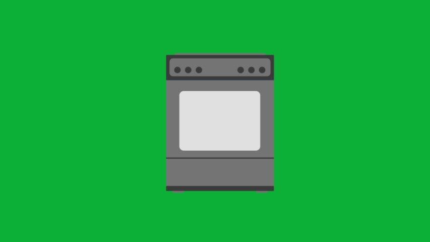 Gas Stove animated cartoon icon on Green screen background - kitchen stove sign 4K animation