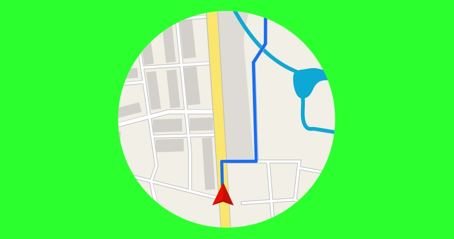 GPS Tracking. GPS navigation concept. Arrow moving forward on a map. Seamless loop.GPS navigator. Navigation map. Moving red marker on city map. Looped green screen animation. 4K,HD,SD resolution.