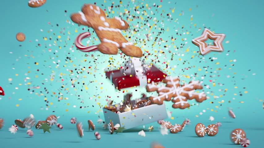 3d animated greeting card, gingerbread cookies and candies jump from the gift box, over blue background. Bang of golden confetti. Christmas or New Year festive animation Royalty-Free Stock Footage #1057629190