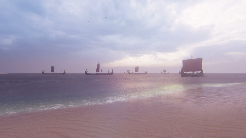 Viking warships sail past a deserted tropical island in a vast sea . Concept on the theme of the Vikings and the early middle ages.