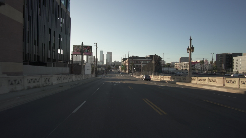 Los Angeles Downtown 4th St Bridge Eastbound Sunset Time Lapse Driving Rear View