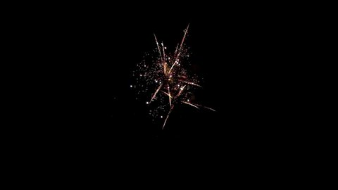 Element of multicolored firework on black background to create a set of salutes through mounting. Slow Motion shot.