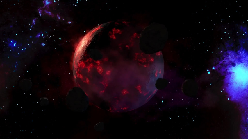 3D Animaion: Flight in an asteroid field orbiting around a alien planet back lit by a bright blue shinning star.Asteroids orbiting red planet in outer space