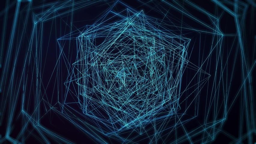 3d Render Geometric Background Animation with Blue Swirling Triangle Design. Abstract Polygonal Pattern Motion Graphics Concept. Seamless Loop.