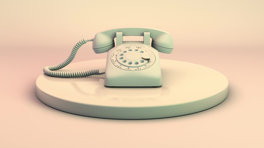 An old dial phone with a dial on a pedestal. 3D animation. Royalty-Free Stock Footage #1057665148