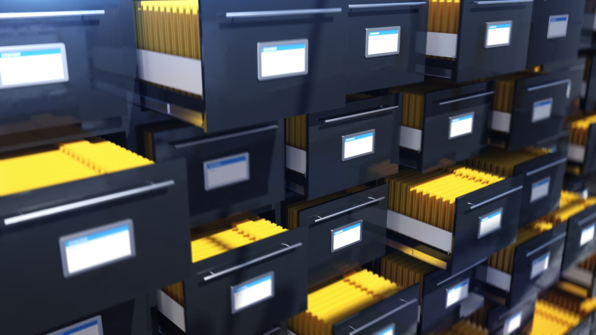Paper drawers opening and closing, archive, library, data preservation, bureau. Searching through archive folders | Shutterstock HD Video #1057669000