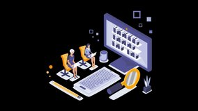 Book library isometric concept animation. Isometric teamwork. Web archive isometric. 3D loopable realistic video footage. 4K