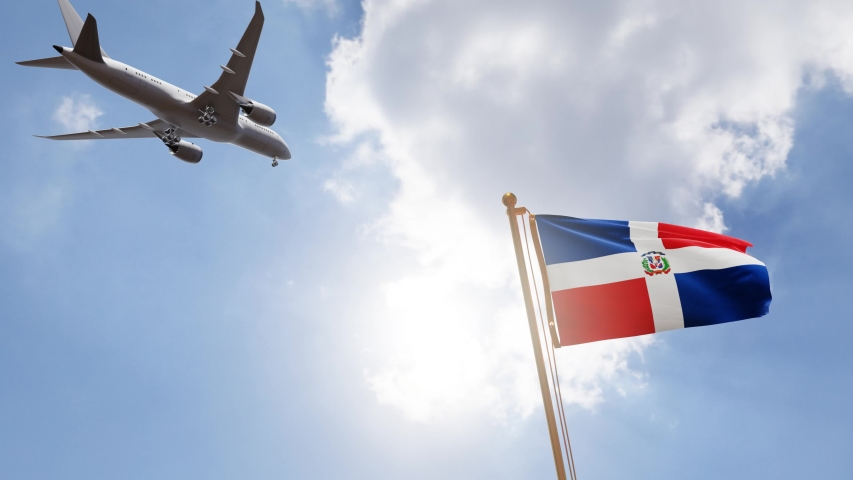 Flag of Dominican Republic Waving with Airplane arriving or departing, Realistic Animation   Shutterstock HD Video #1057688653