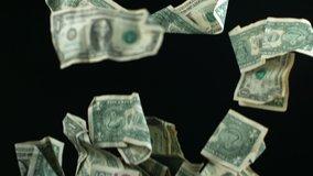 Slow Motion Falling Money Dollars
