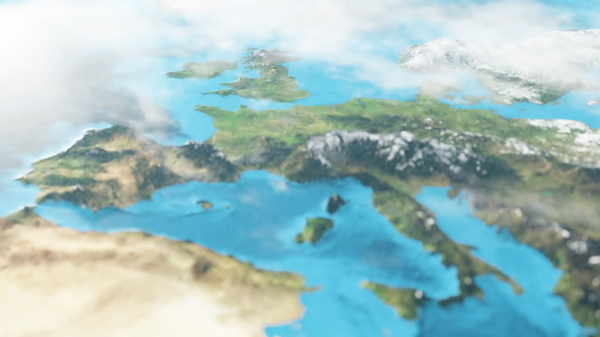 European Map in 3D CGI Hyperlapse with High Relief Mountains & Foggy Atmosphere