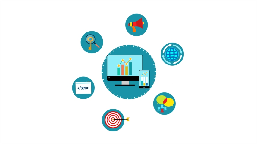 SEO Strategy, Search engine optimization concept.SEO marketing, SEO success, keyword research & Keyword tool. 4K 2D Flat animation infographic video clip. | Shutterstock HD Video #1057698862