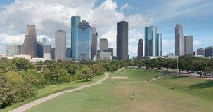 Low angle drone view of downtown Houston skyline. This video was filmed in 6k and downscaled to 4k for best image quality.