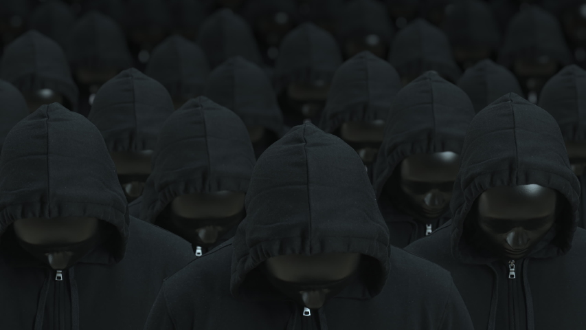 Crowd of the same people wearing black masks raise heads. Totalitarity and awareness concepts | Shutterstock HD Video #1057745569