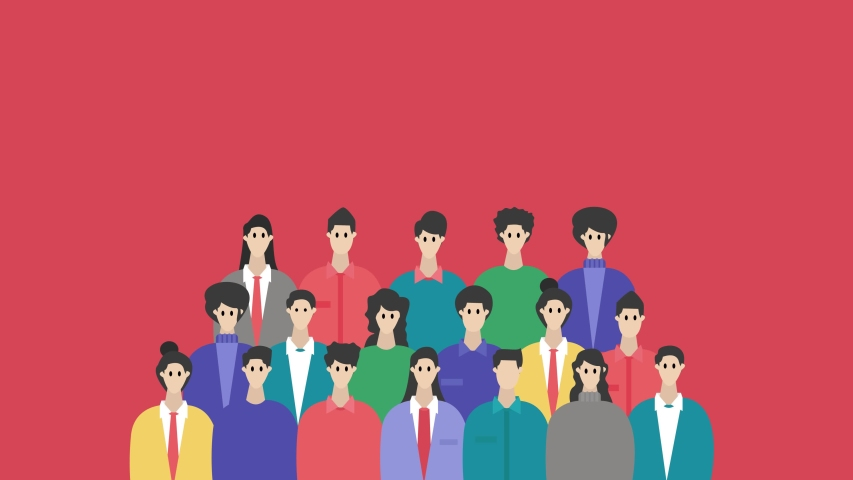 Group animation of young people standing together and posing for a photograph in the studio with red color background.