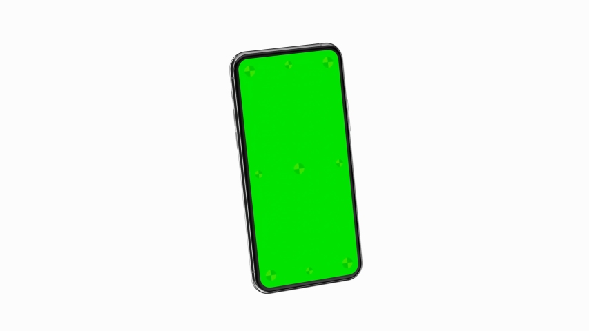 Smartphone blank green screen with indicators flies in with rotate into the frame. Luma matte included for easy replacing background. Modern frameless design, no motion blurs and all in focus.   Shutterstock HD Video #1057758085