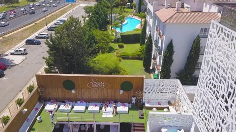 Marbella, Malaga / SPAIN - August 2019 :  Luxury Sisu Boutique Hotel in Marbella, famous destination for luxury lifestyle and parties, before being destroyed by fire in 21 August 2020