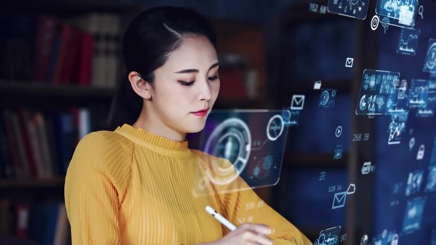 System engineering concept. Female programmer. Software development. Digital transformation. Royalty-Free Stock Footage #1057766023