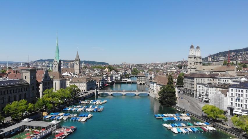 Zurich Switzerland Limmat River Reveal Drone View