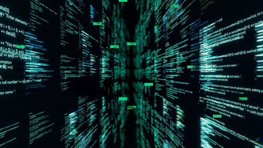 Source codes in cyberspace on black background. Animation. Inside software or matrix with 3D walls of source code. Dipping into matrix through passageway from source codes Royalty-Free Stock Footage #1057790755