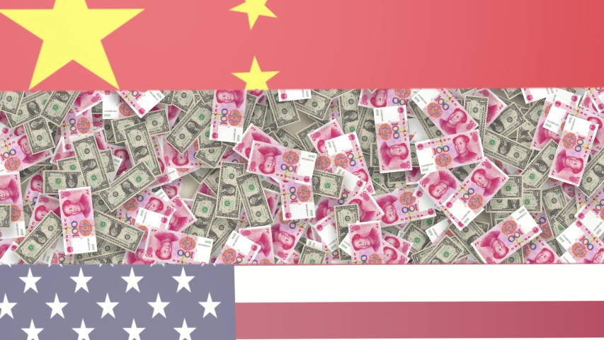 Chinese yuan and american dollar bills rotating with USA and China national Flags. USA and China trade war or currency war concept
