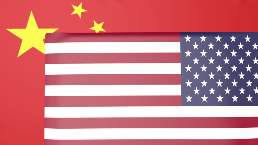 USA national flag with the chinese flag on the background.USA and China trade war concept
